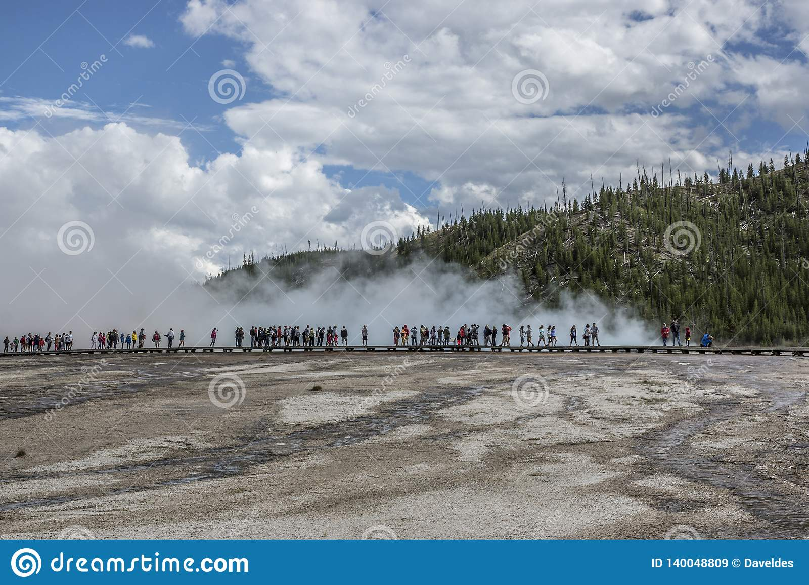 People Viewing Grand Prismatic Geyser