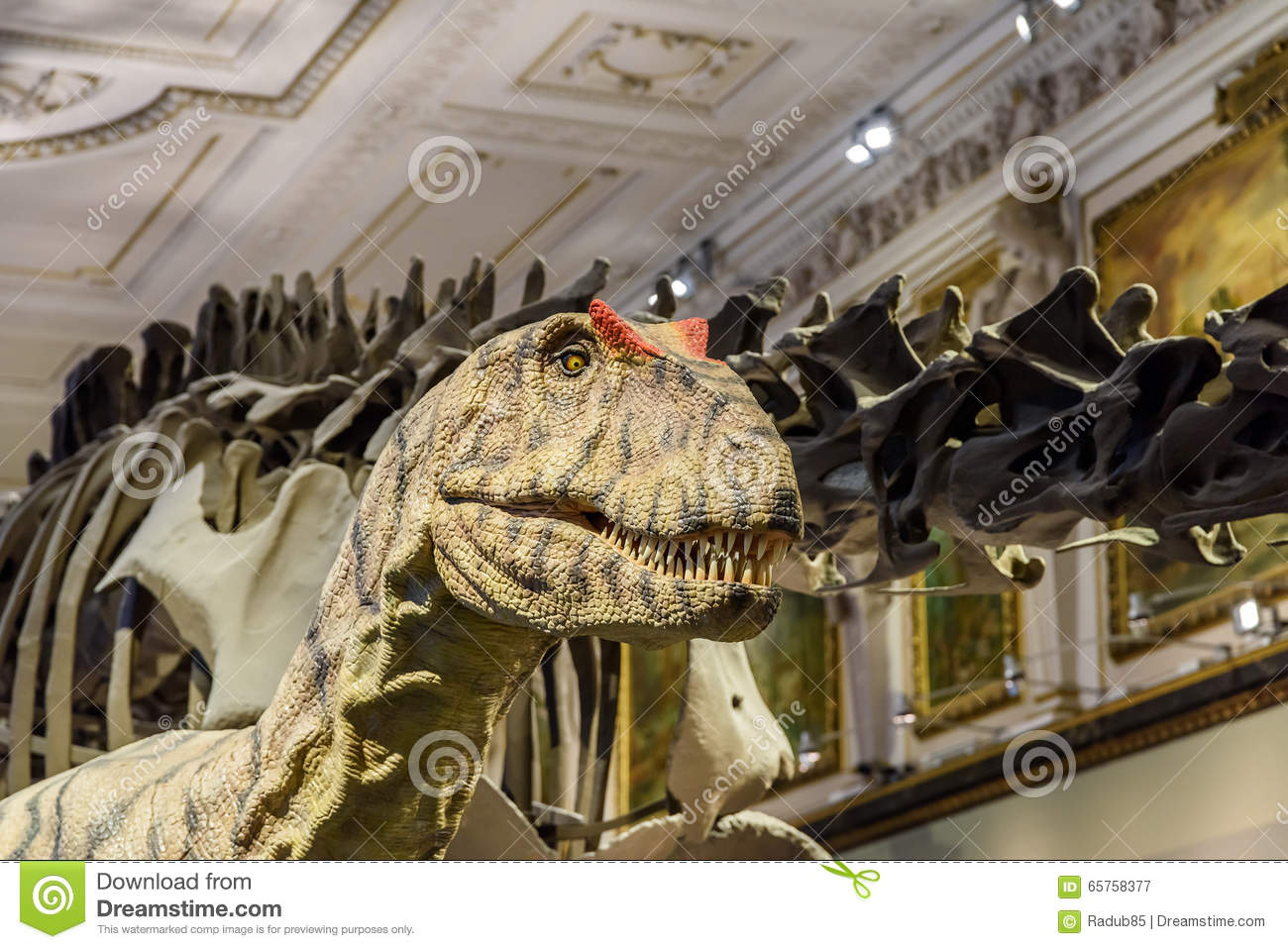 People Visit Dinosaur Prehistoric Exhibit At The Museum of Natural History (Naturhistorisches Museum)