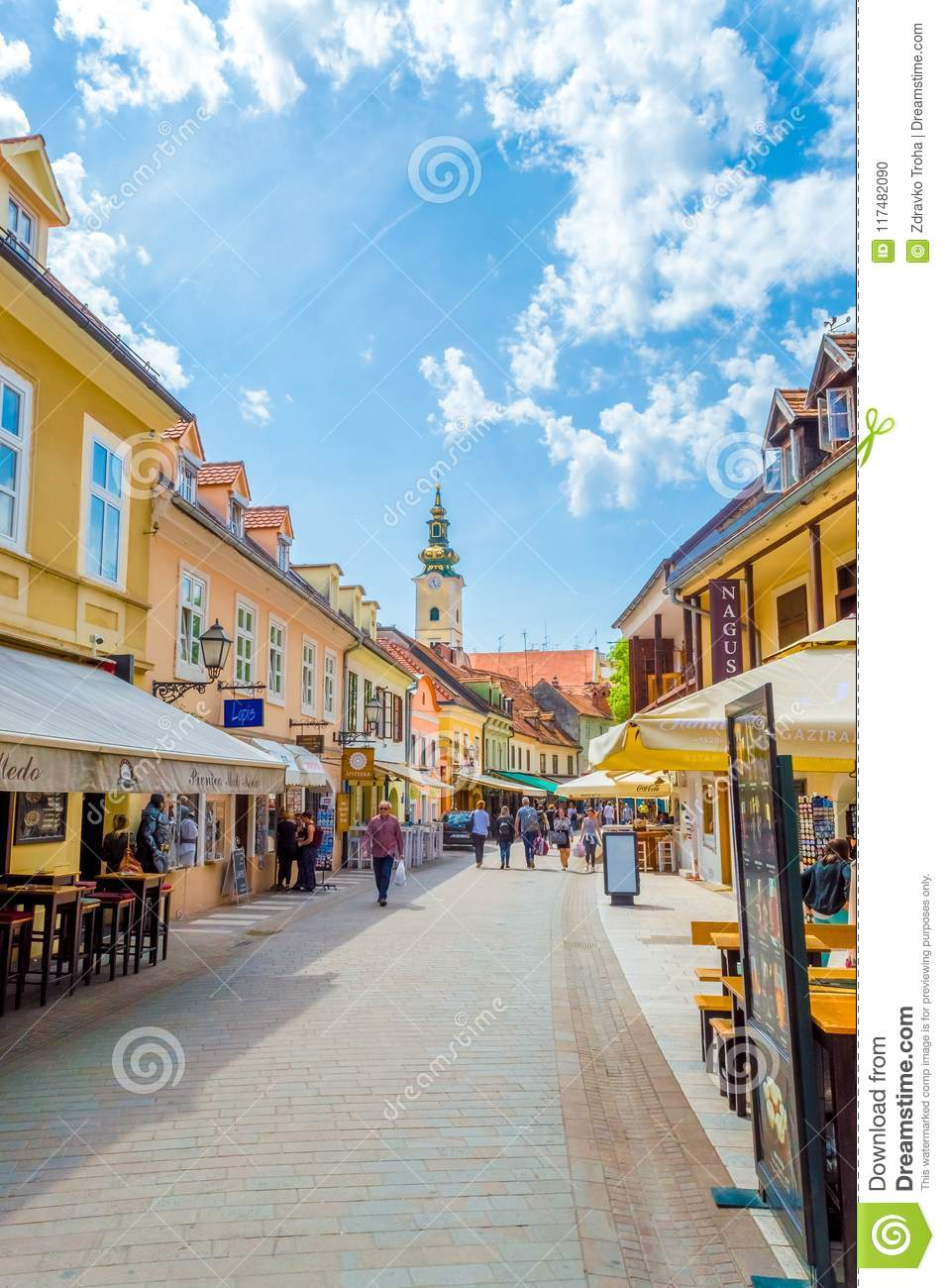 People Visit Tkalciceva Street It Is A Pedestrian Zone In Zagreb Downtown Lined With Restaurants And Cafes Editorial Image Image Of Entrance Historic 117482090
