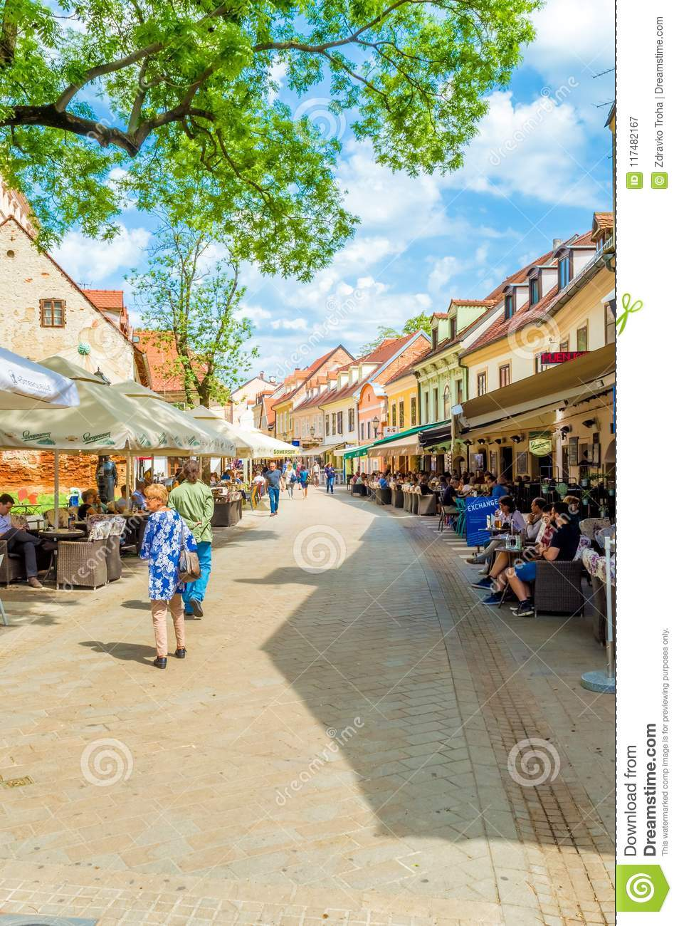 People Visit Tkalciceva Street It Is A Pedestrian Zone In Zagreb Downtown Lined With Restaurants And Cafes Editorial Photography Image Of Church Center 117482167