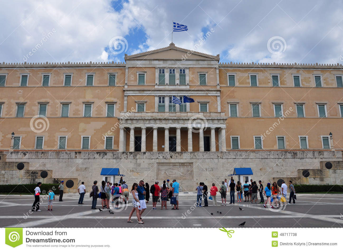 people visiting the greek parliament editorial stock photo