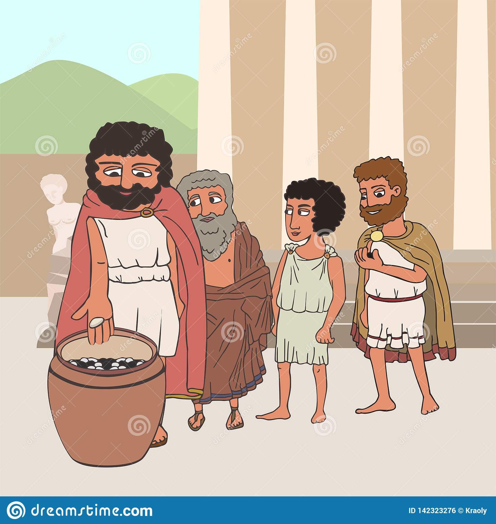 People voting in ancient greece cartoon