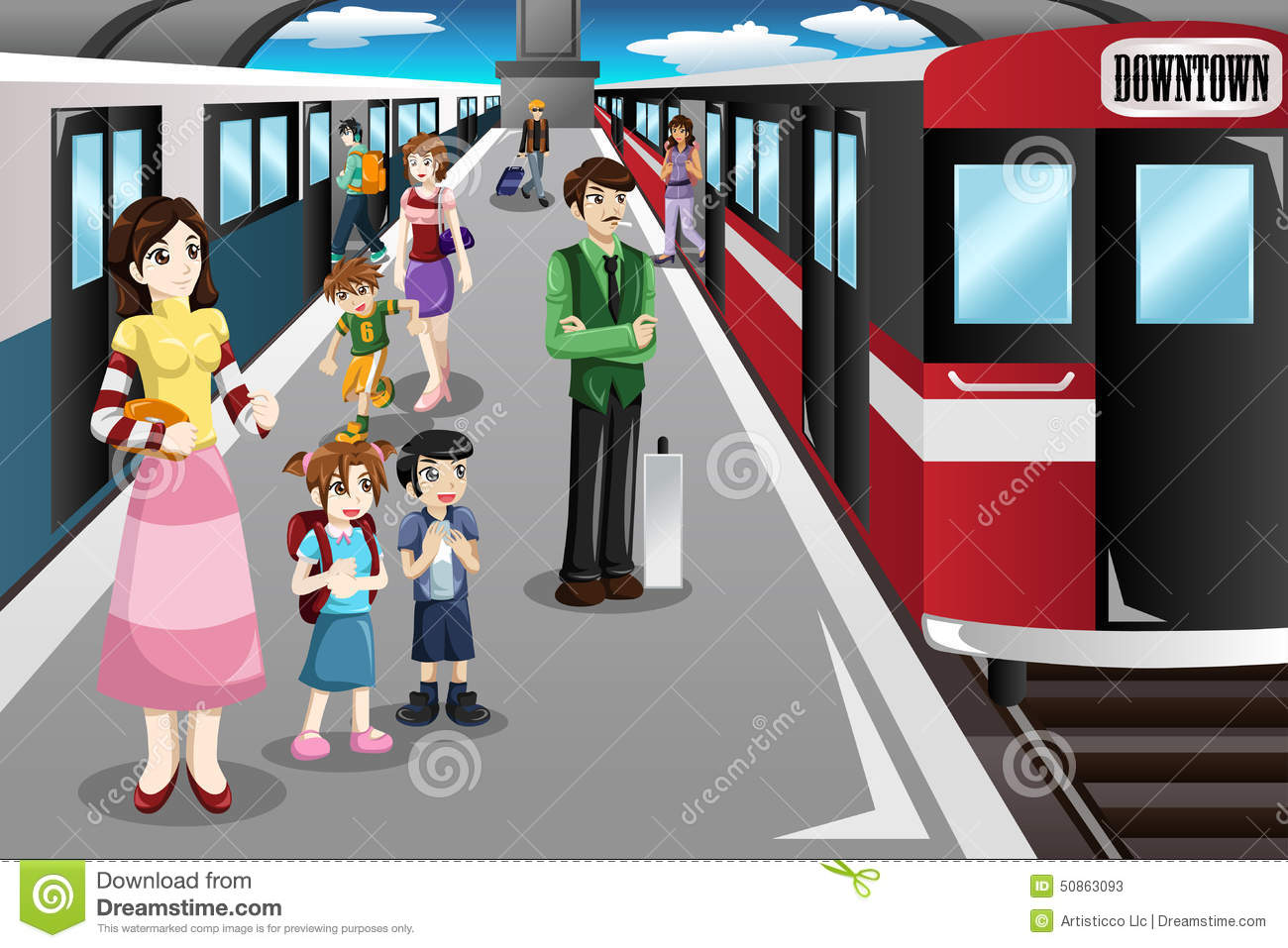 people waiting in a train station stock vector image 50863093