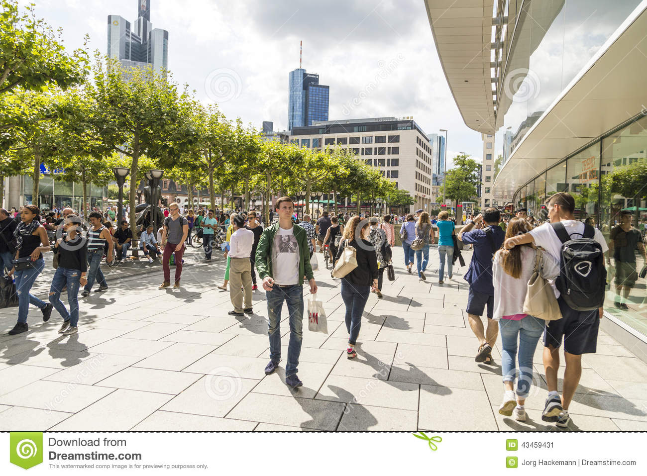 people walk along the zeil in frankfurt am main editorial photo image of pave shadow 43459431. Black Bedroom Furniture Sets. Home Design Ideas