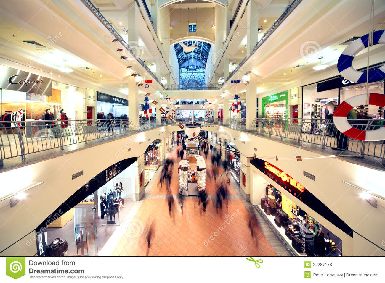 People Walk In Atrium Mall Editorial Stock Photo Image