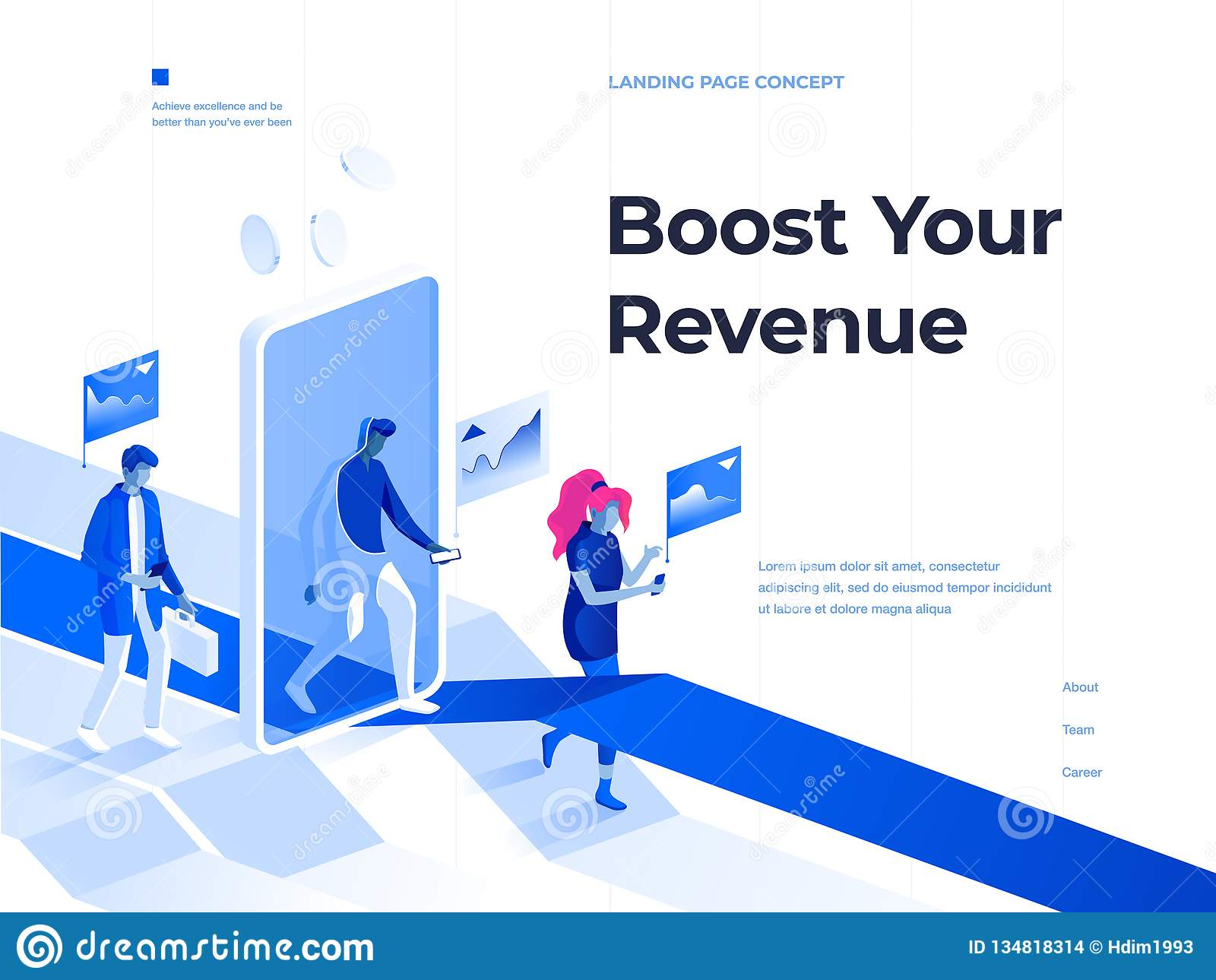 People walk with smartphones and get rewards going through a mobile application screen. 3d isometric illustration. Landing page.