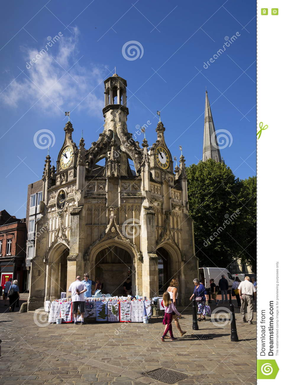 People walk on street in front of the Chichester Cross on August 12, 2016 in Chichester, United Kingdom.