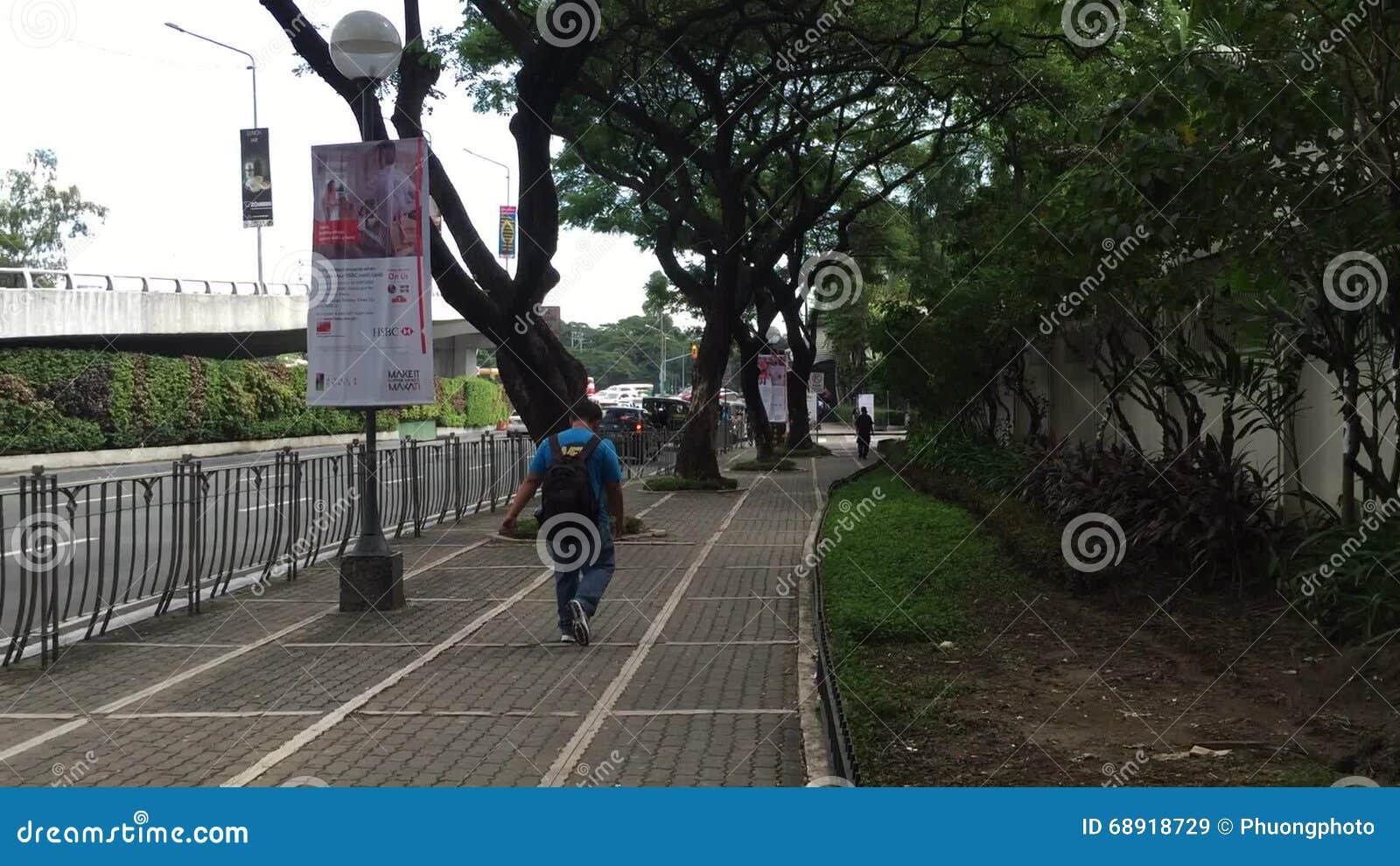 People Walk On Street In Makati, Manila Stock Video - Video