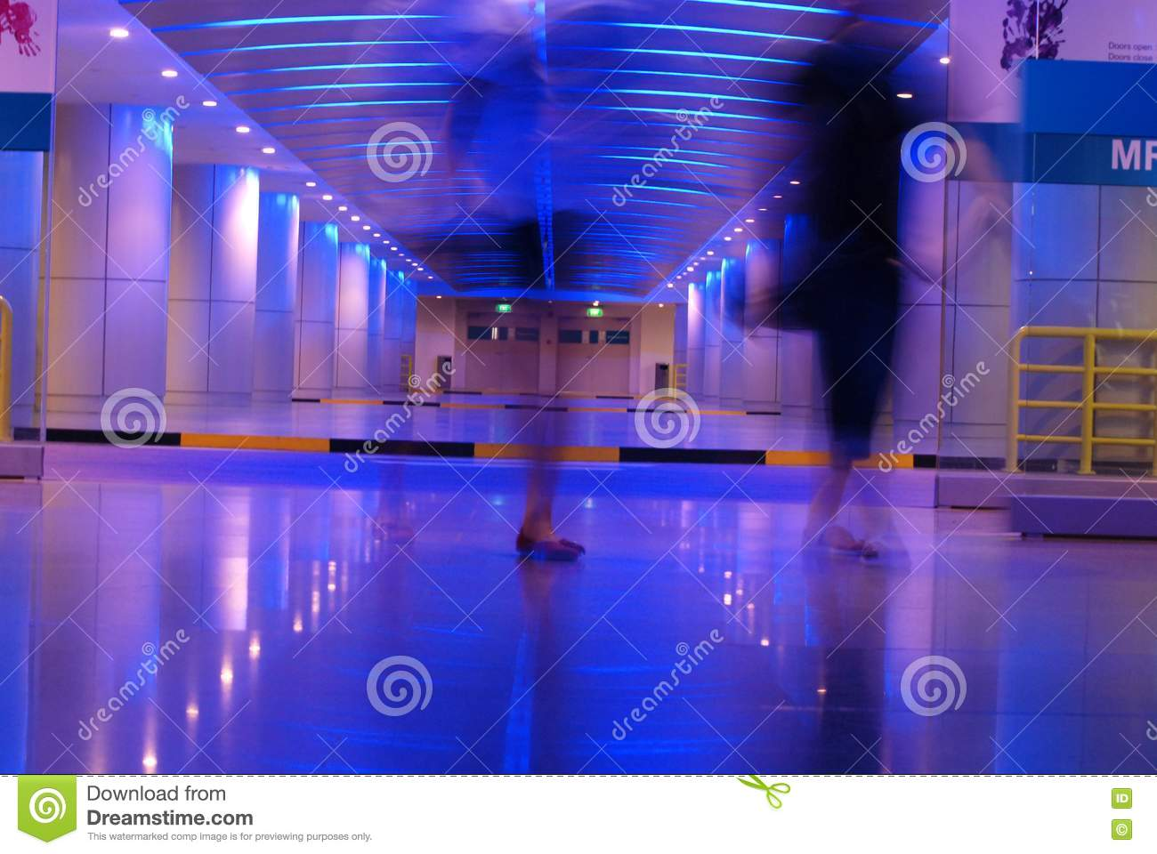 people walking in the basement royalty free stock photography image