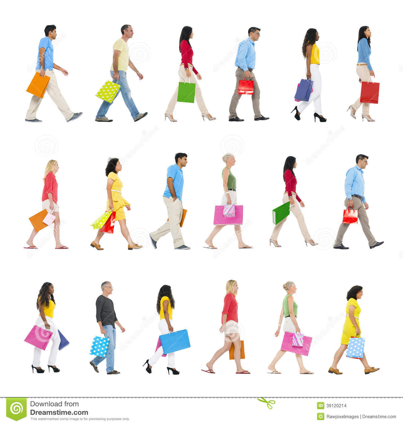 People Walking Forward With Shopping Bags Stock Photo ...