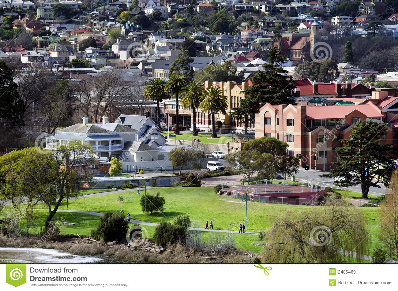 People Walking, Kings Park, Launceston, Tasmania Stock Image - Image ...