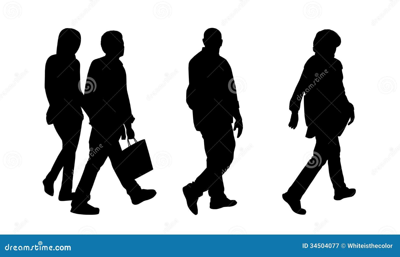 Silhouette Of People Walking On Street: People Walking Outdoor Silhouettes Set 1 Royalty Free