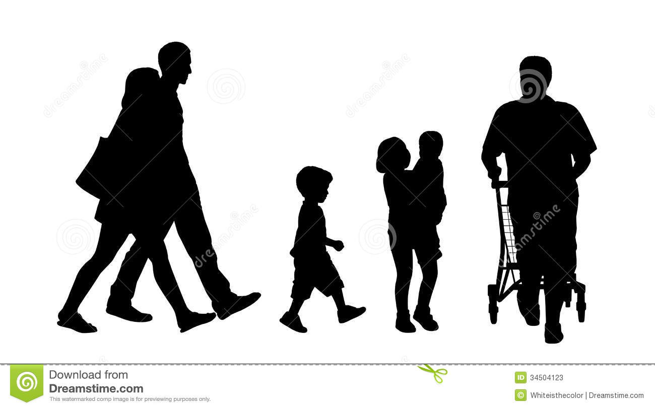 People Walking Outdoor Silhouettes Set 3 Royalty Free Stock Photo