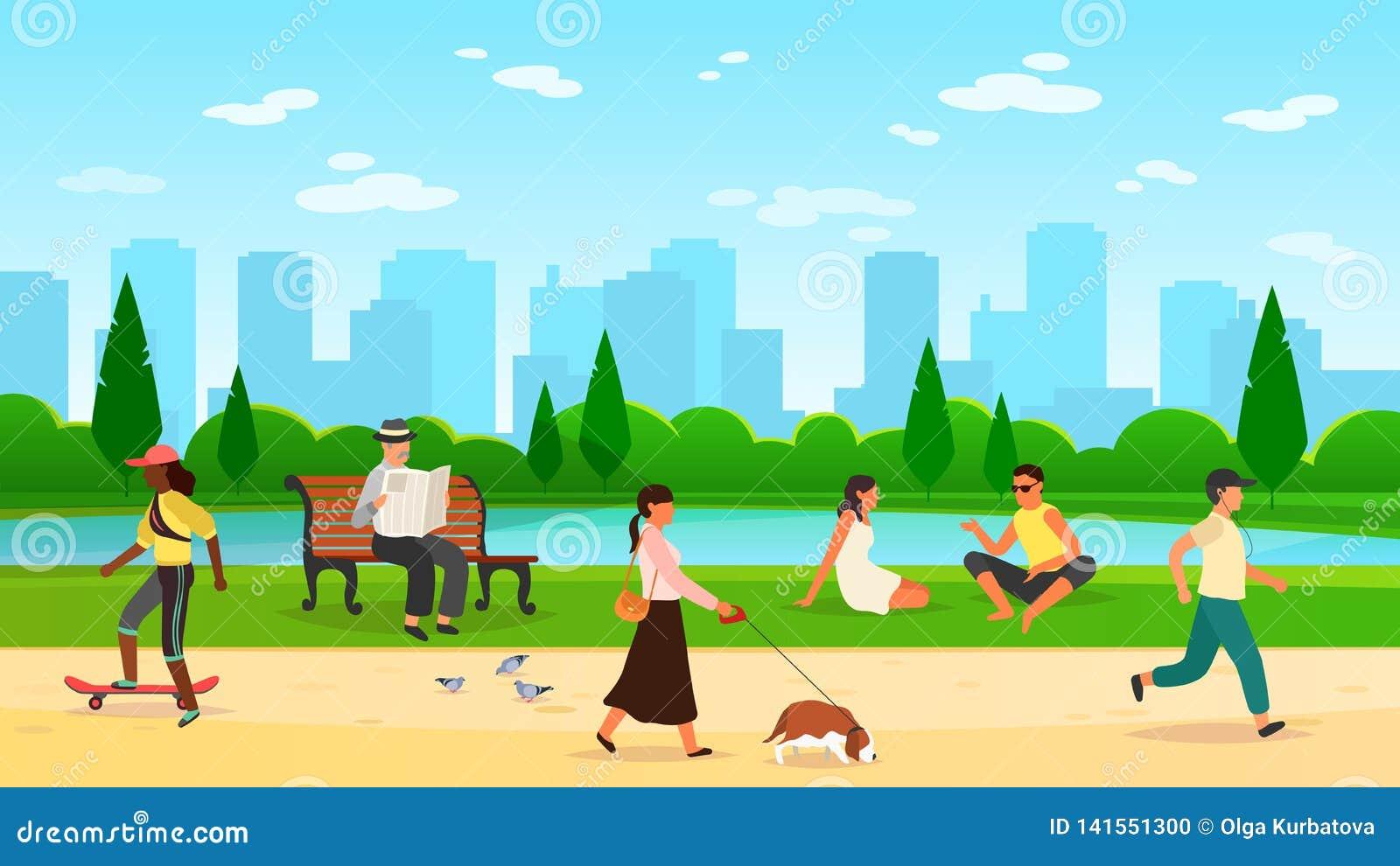 People walking park. Women men activity outdoors sport group running community fun walk nature cartoon lifestyle vector