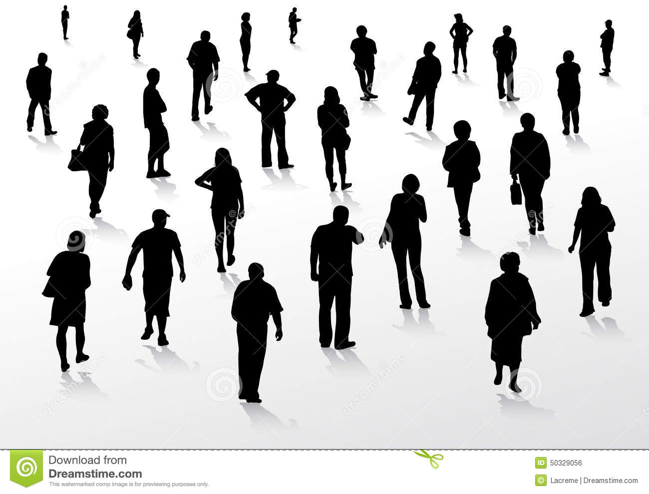 People Walking Silhouettes Adult Casual Royalty Free Vector