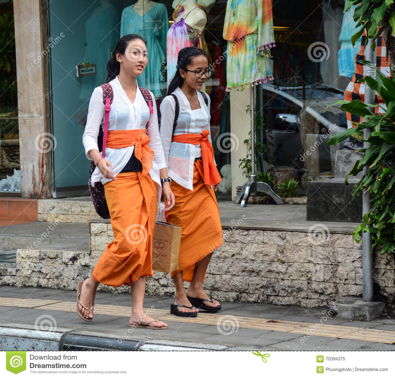People Walking On Street In Bali Indonesia Editorial Image