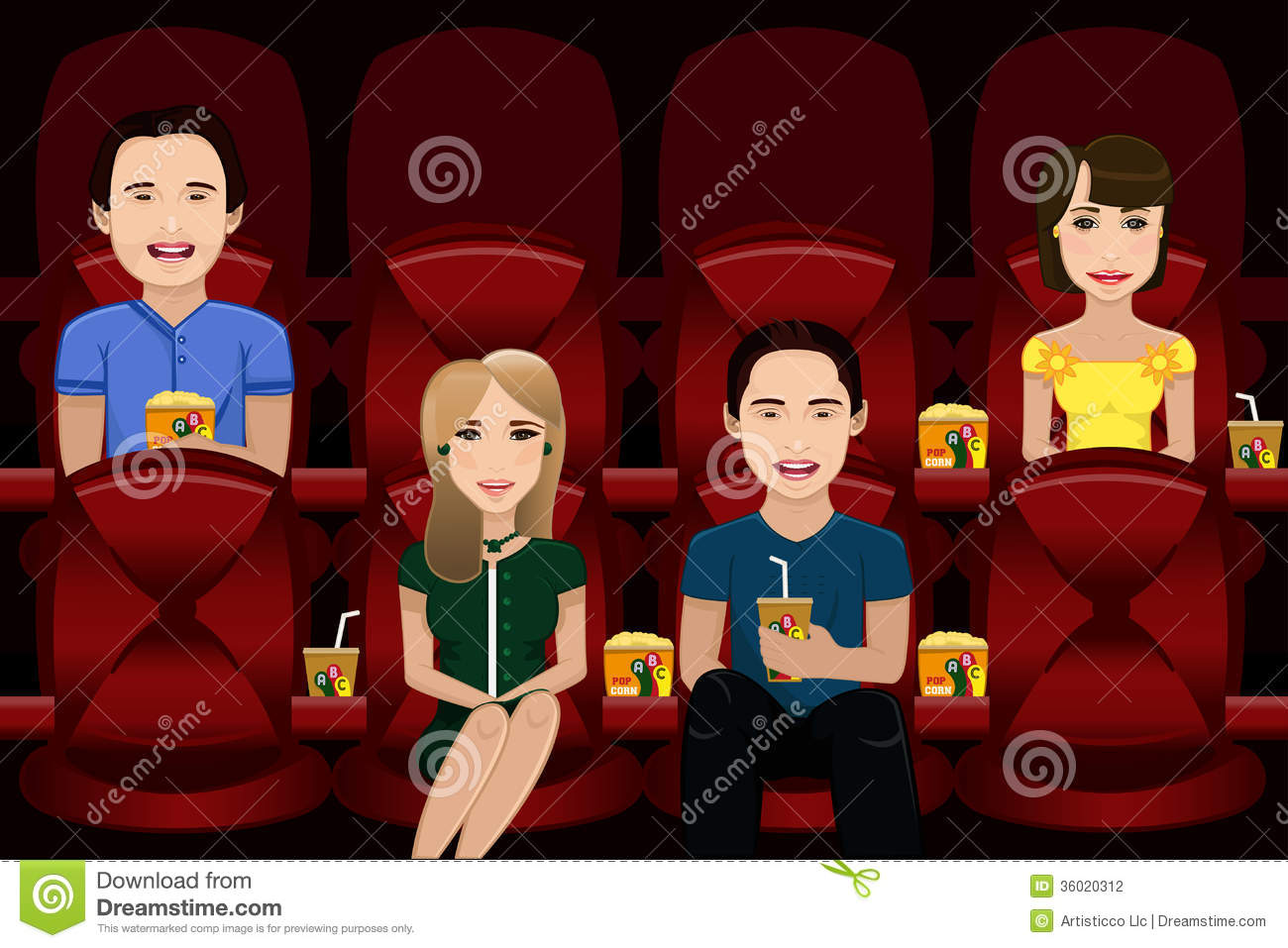 People Watching Movie Stock Vector Illustration Of Drawing