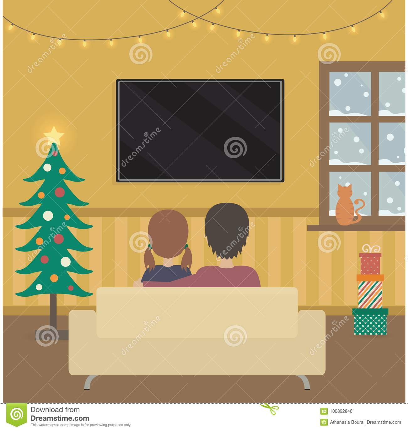 people watching tv in christmas deco room