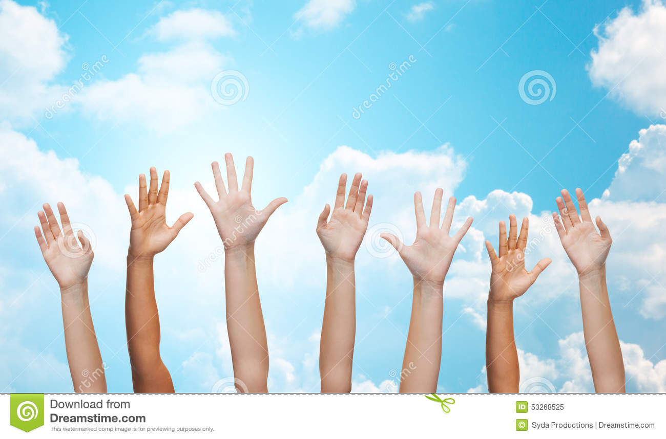 ... - people waving hands over blue sky and white clouds background