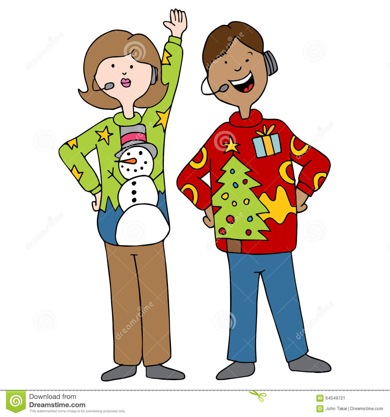 People Wearing Ugly Christmas Sweaters Stock Vector ...