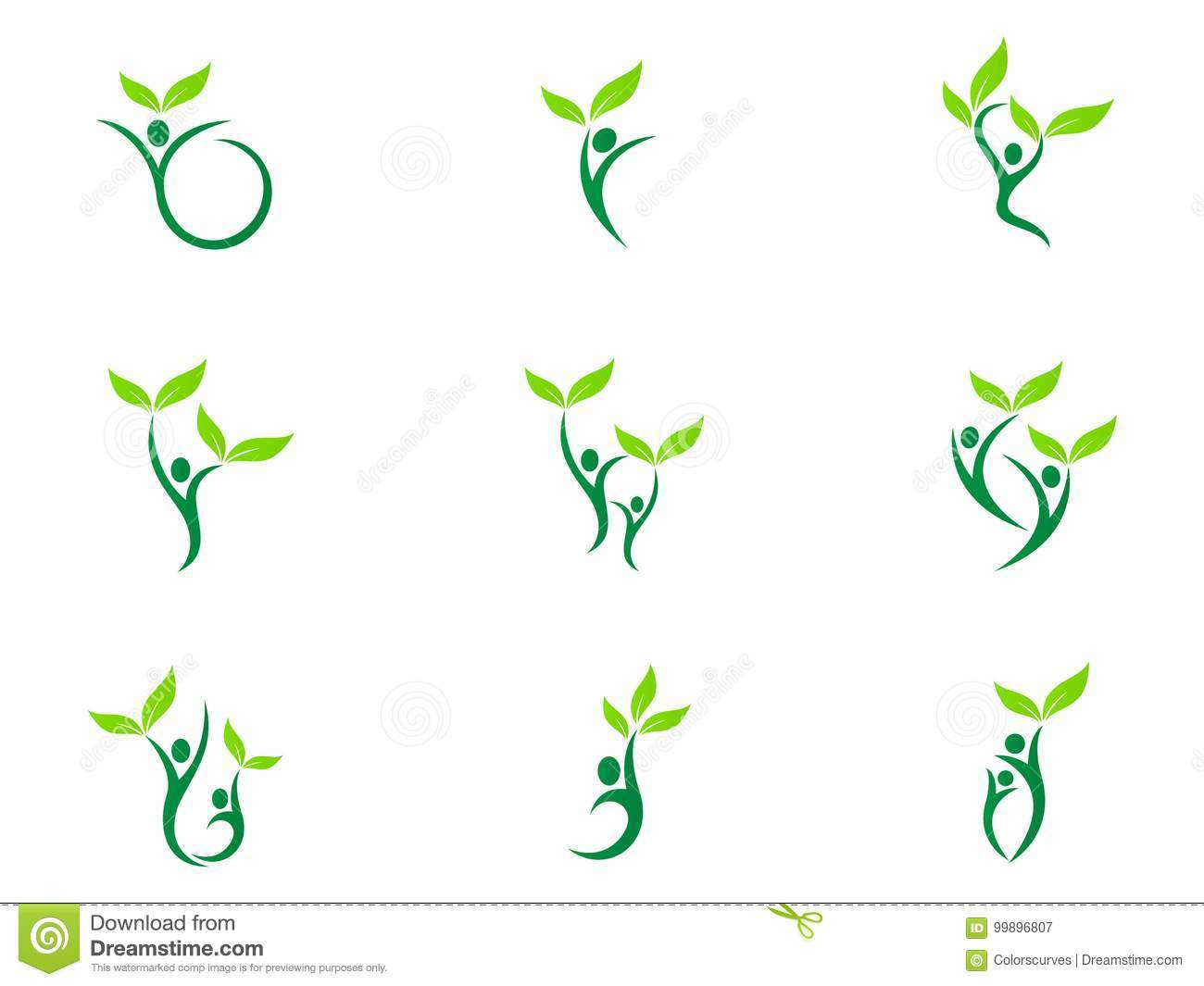 People wellness logo health care fitness eco friendly green couple agriculture success vector symbol icon design.