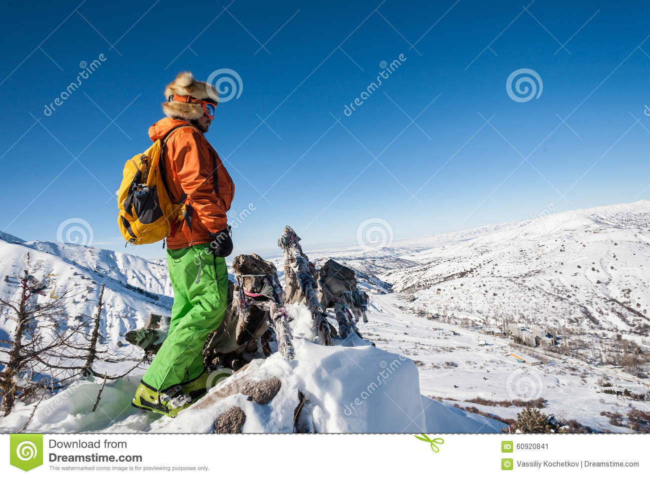 People on winter vacation skiing and snowboarding stock for Winter vacations in the us