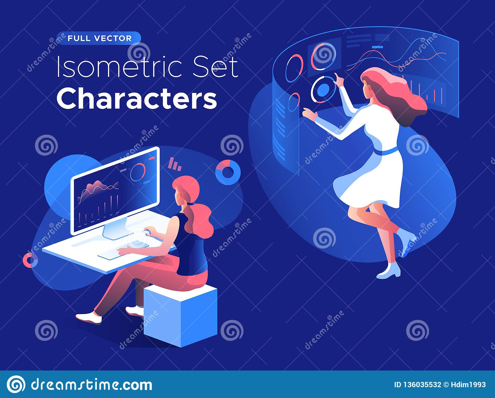 People work and interacting with graphs and devices. Data analysis and office situations. 3D Isometric vector illustration set.