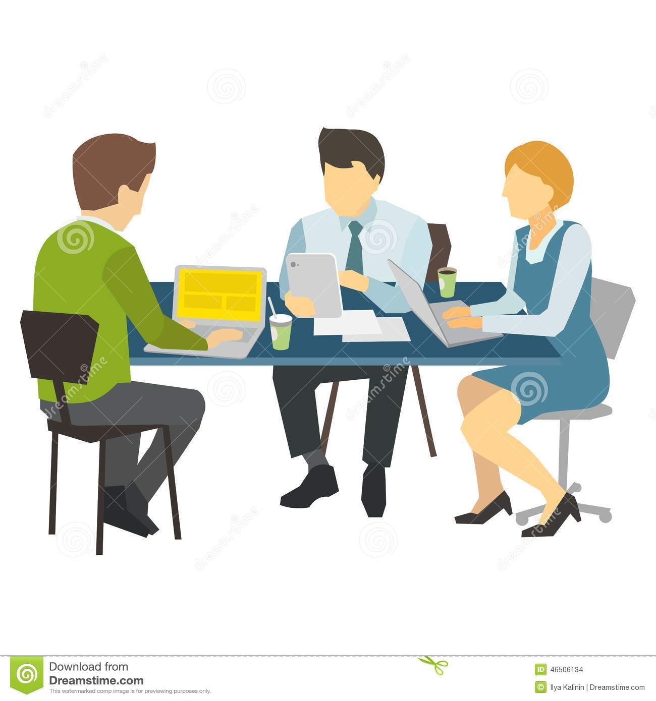 People Work At The Table Stock Vector Illustration Of