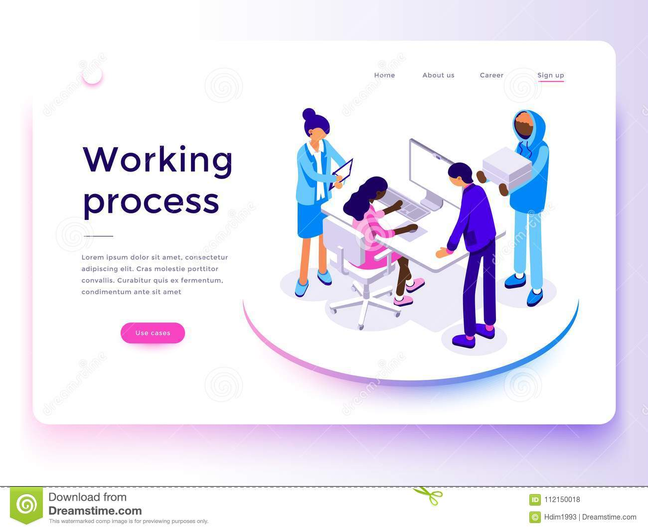 People work in a team and achieve the goal. Landing page template. 3d vector isometric illustration.