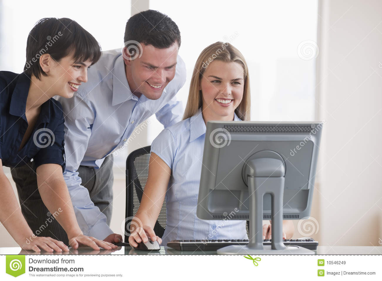People Working on Computer stock image. Image of cheerful ...