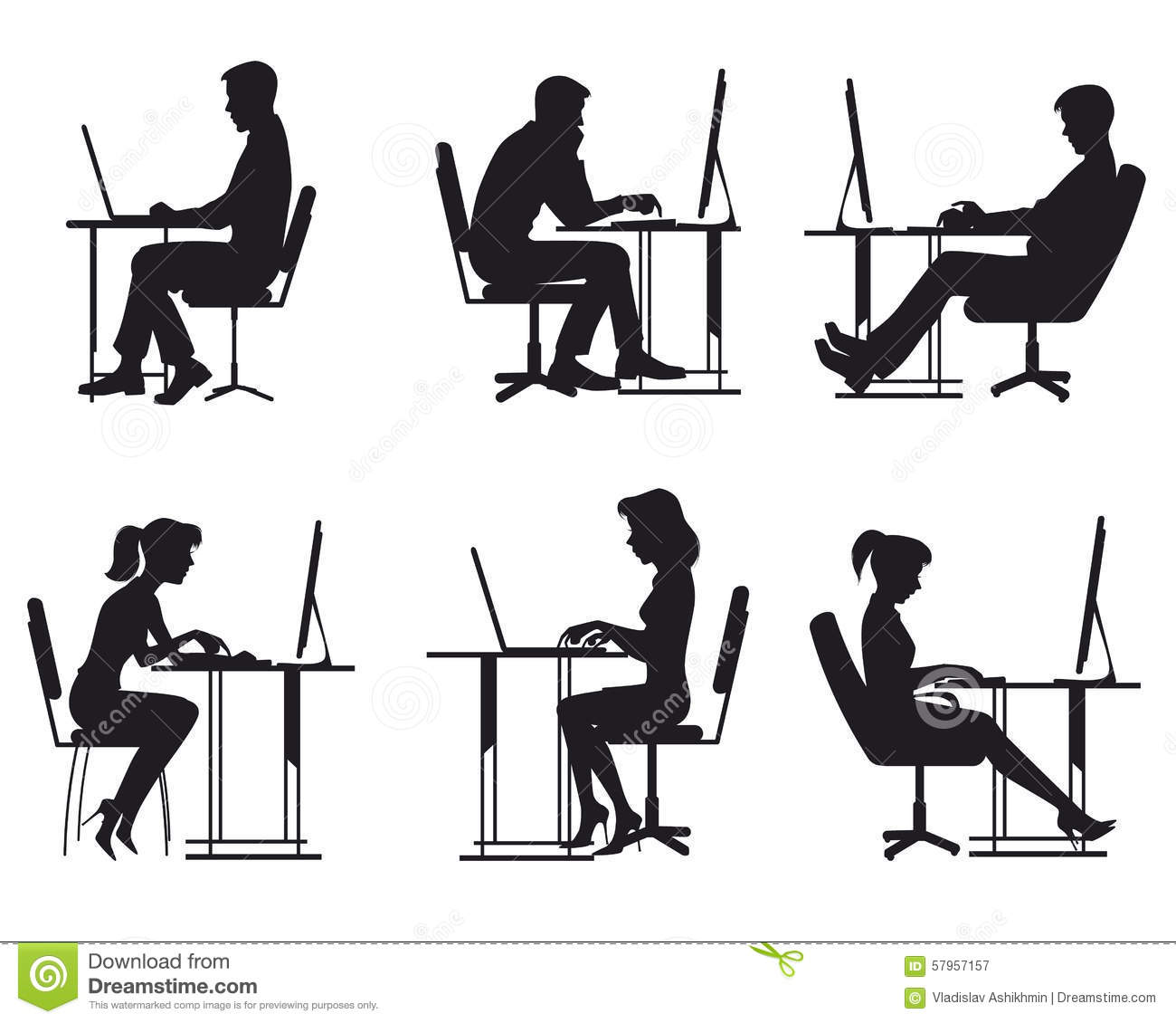 People Working At Computer Stock Vector - Image: 57957157
