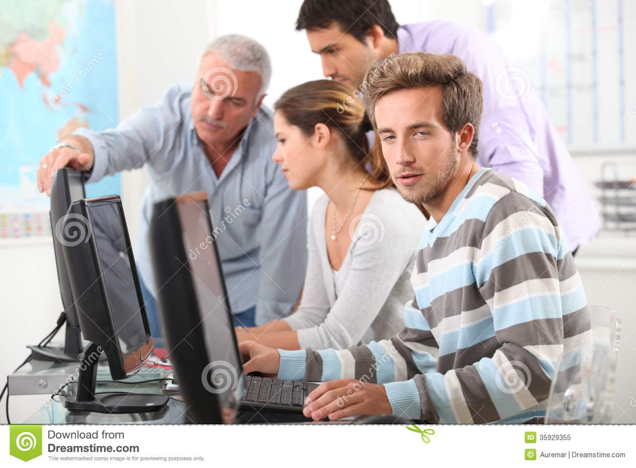 People Working On Computers Stock Image - Image: 35929355