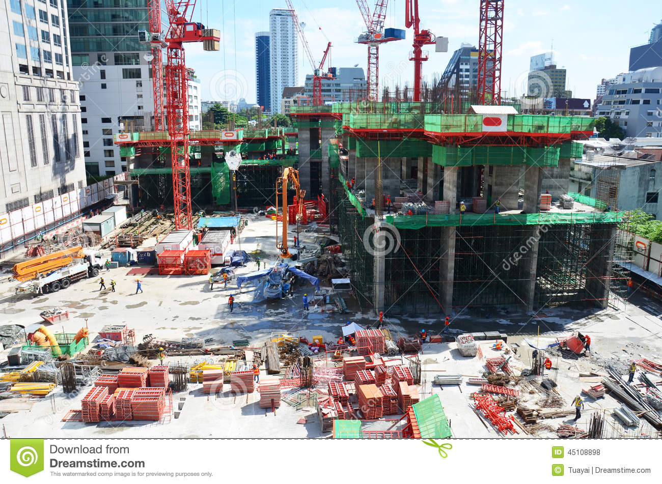 People Working On Construction Site At Bangkok Thailand