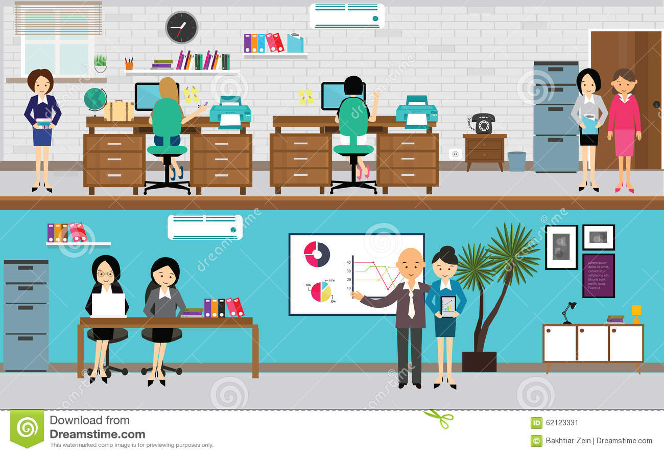 People Working At Office In Flat Vector Illustration Stock