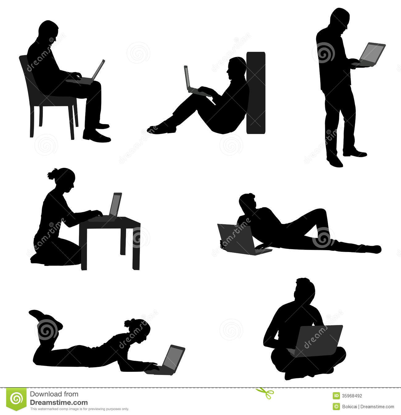 People Working On Their Laptops Stock Vector