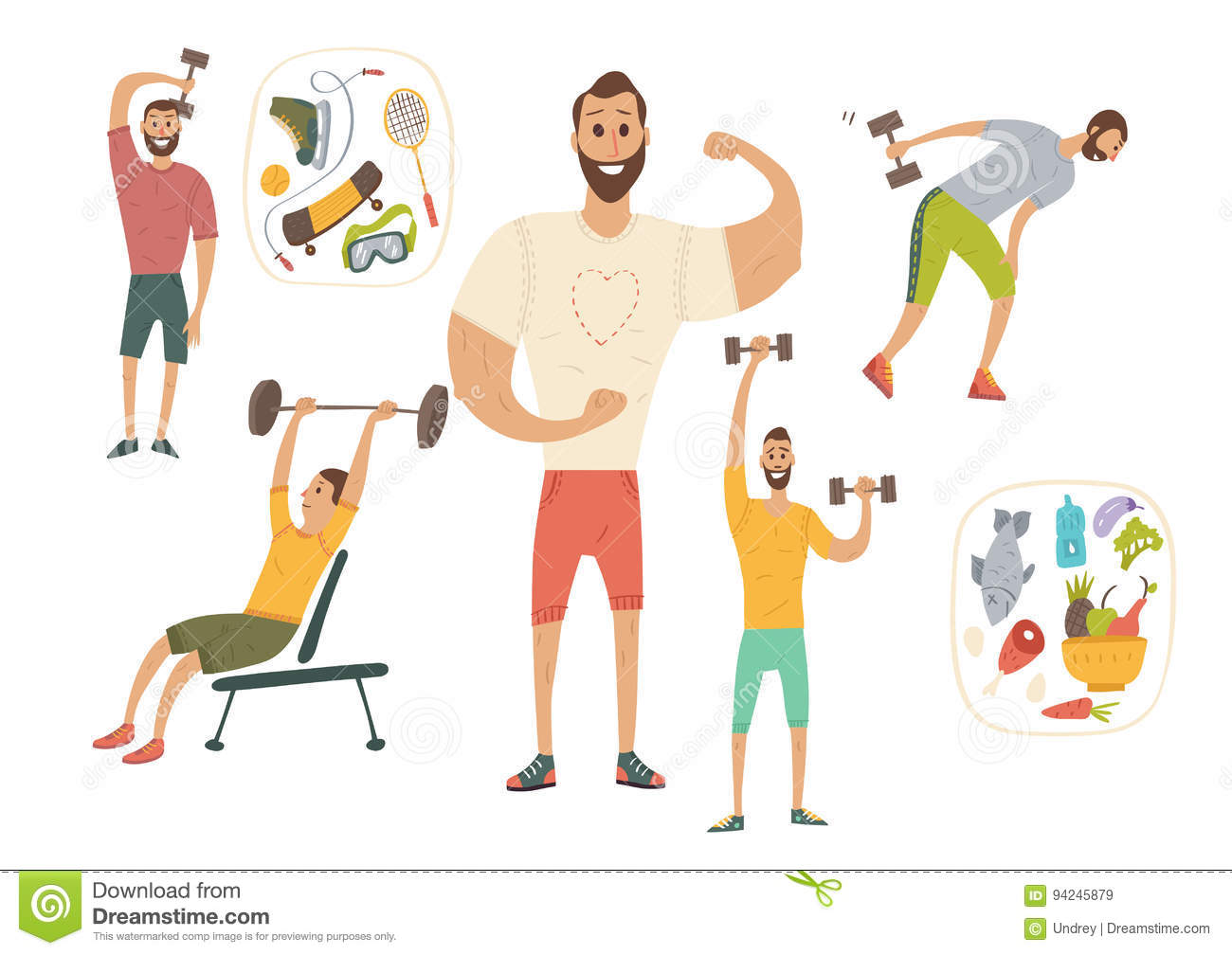 People Workout With Sports Equipments Exercises With Dumbbells Healthy Lifestyle And Proper Nutrition Stock Vector Illustration Of Sportsman Shoulders 94245879