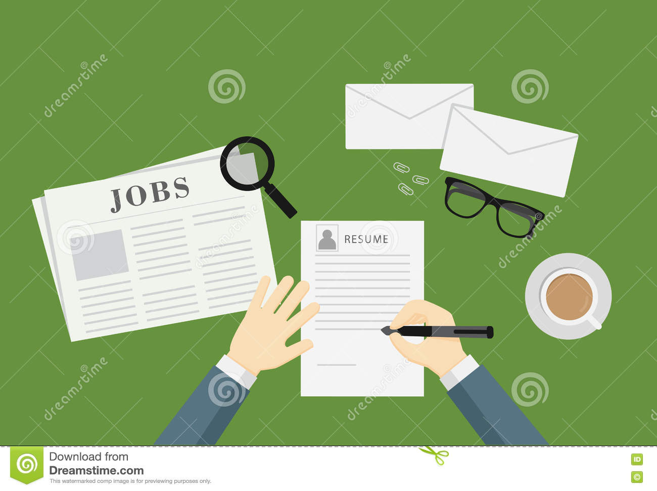 People Writing A Resume To Apply Job Vacancy Stock Vector