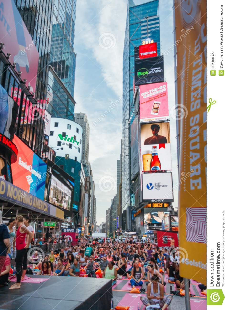 People In The Yoga Annual Concentration In Times Square
