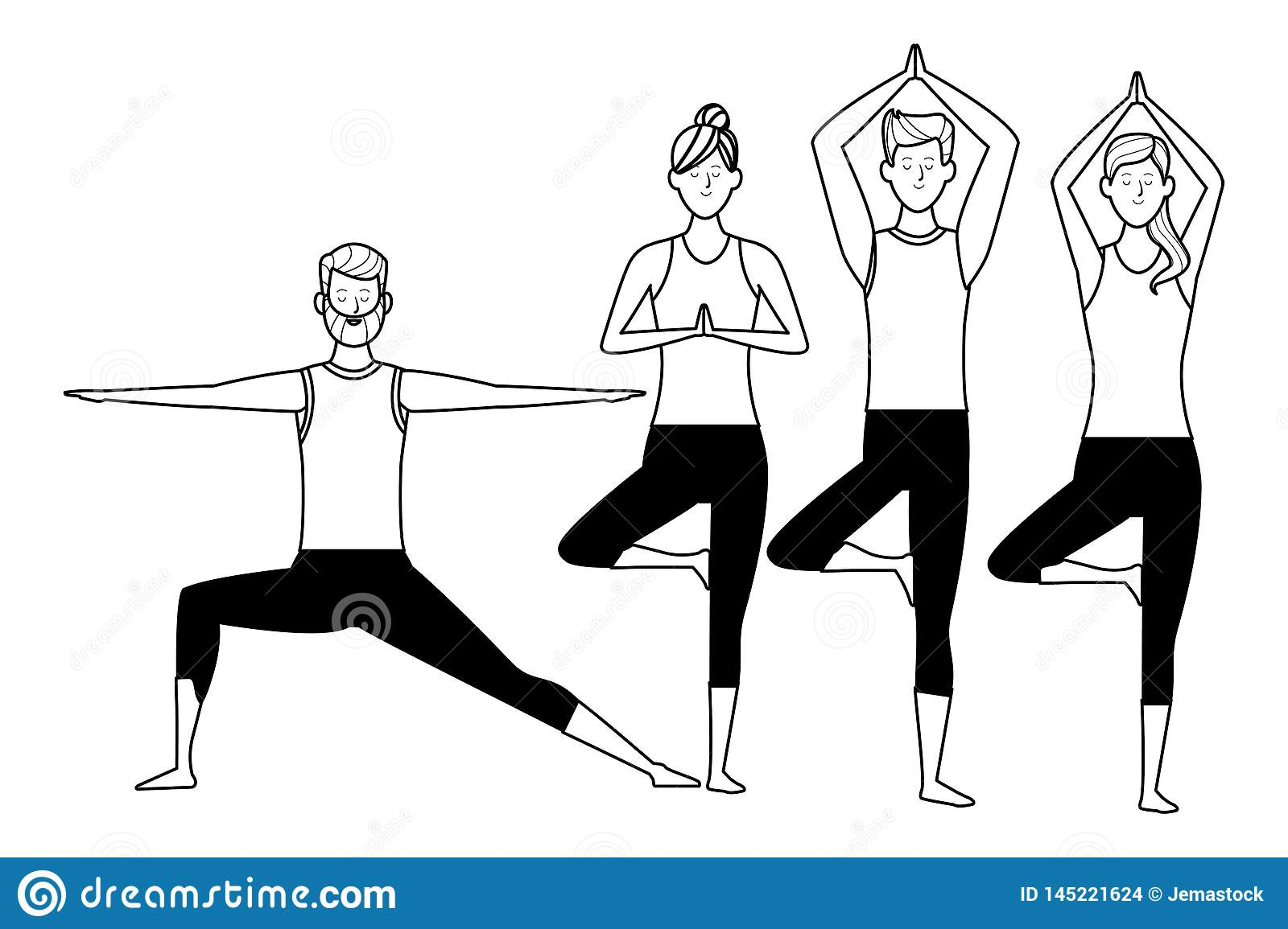 People Yoga Poses Black And White Stock Vector - Illustration of