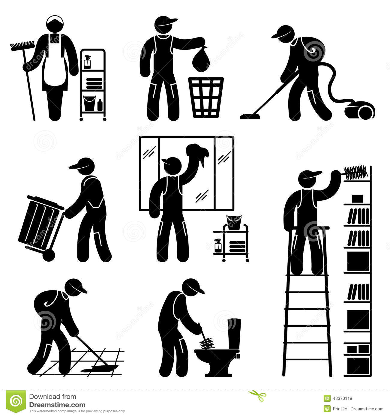 Set black and white vector icons of cleaner people.