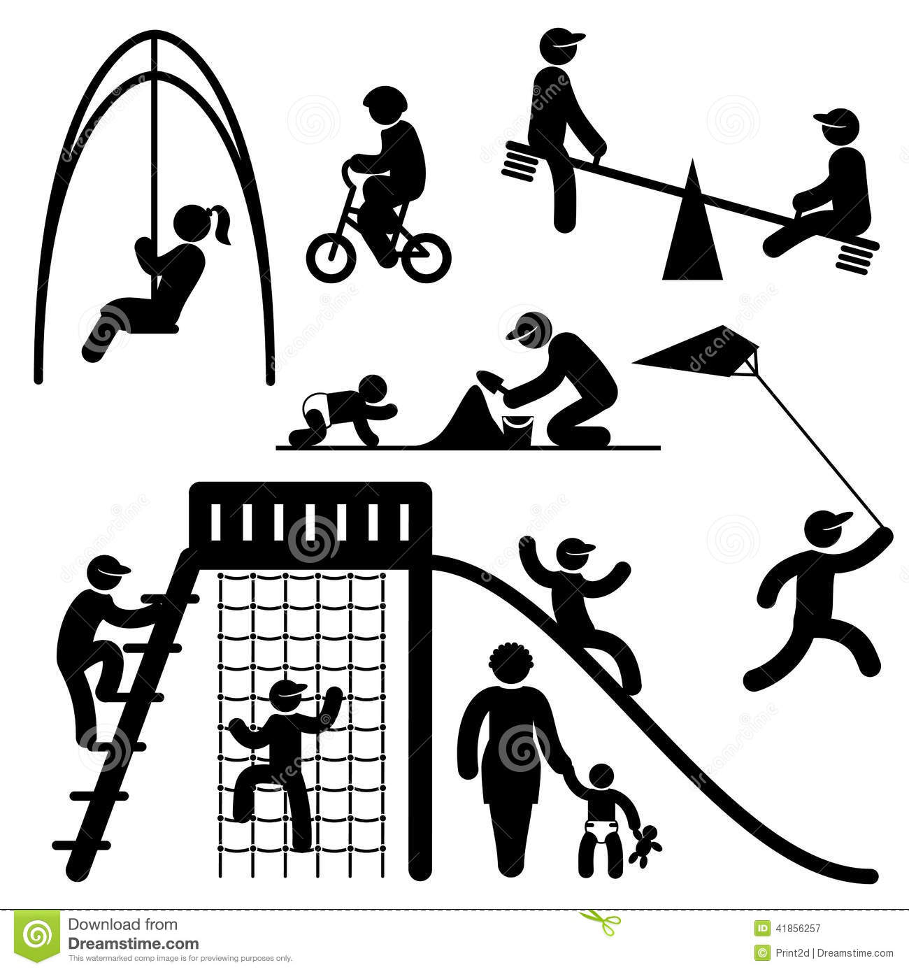 Peoples Playground Icons Stock Vector Image 41856257