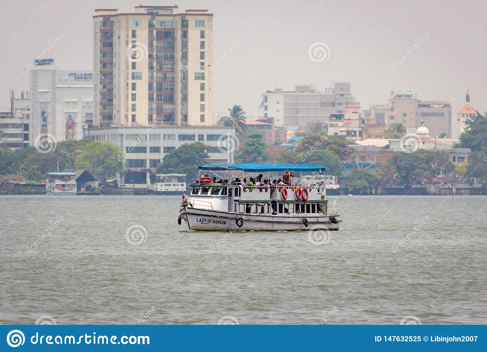 Peoples traveling on boat in Arabian sea Kochin