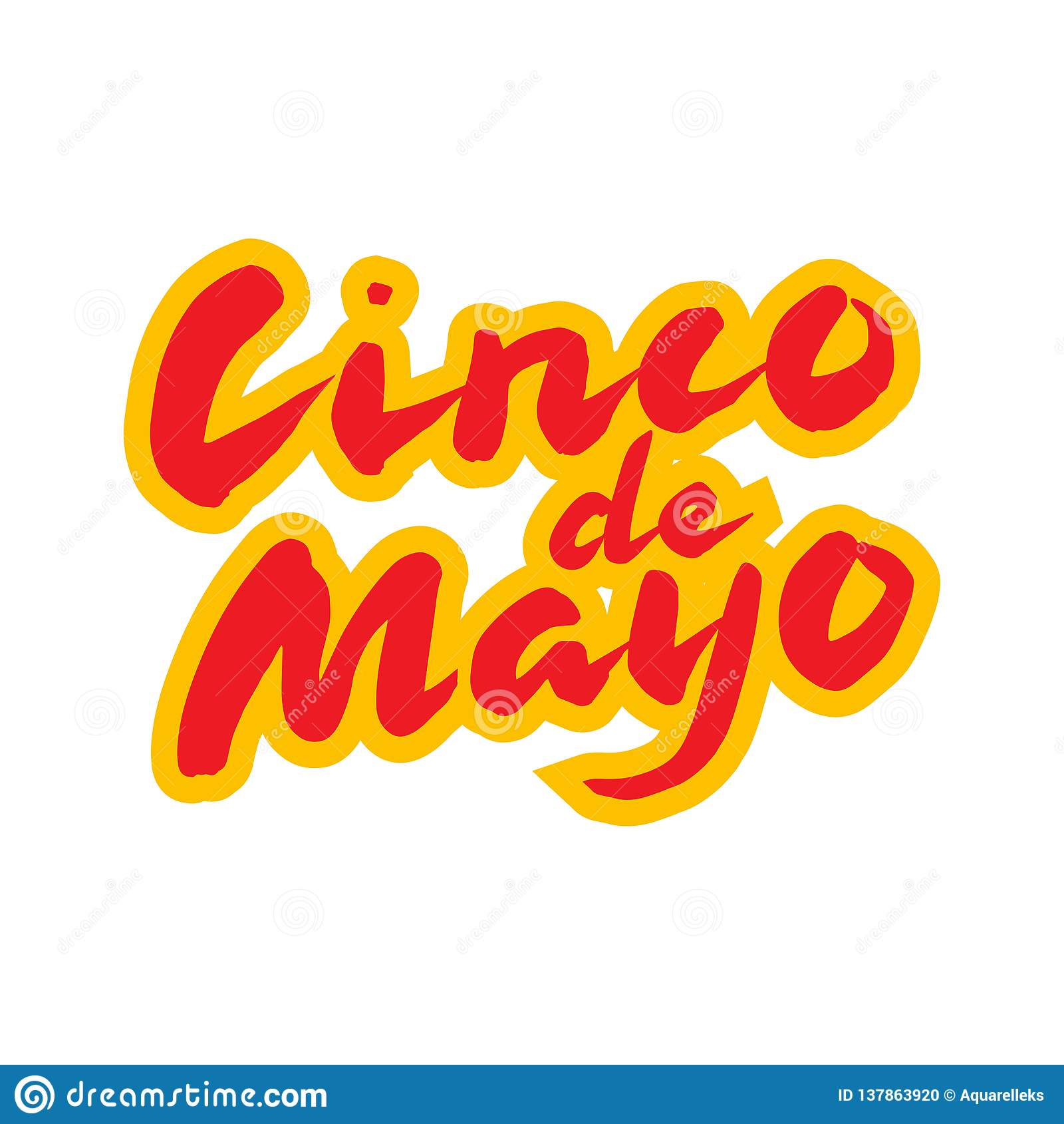 Cinco de Mayo mexican greeting card. Hand drawn calligraphy lettering