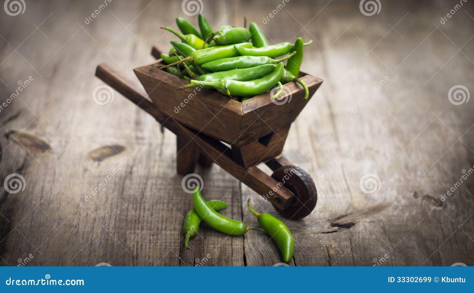 Peperoncino dei jalapeni in una carriola miniatura