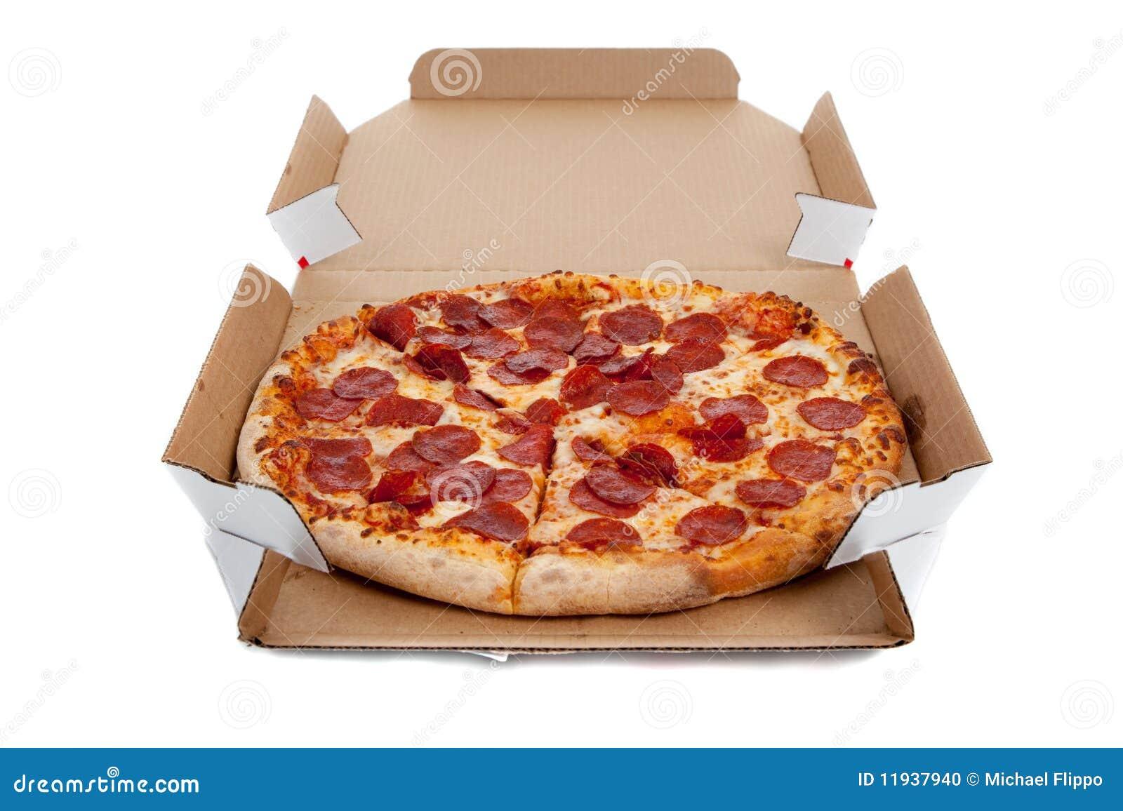 Peperonipizza i en ask på white