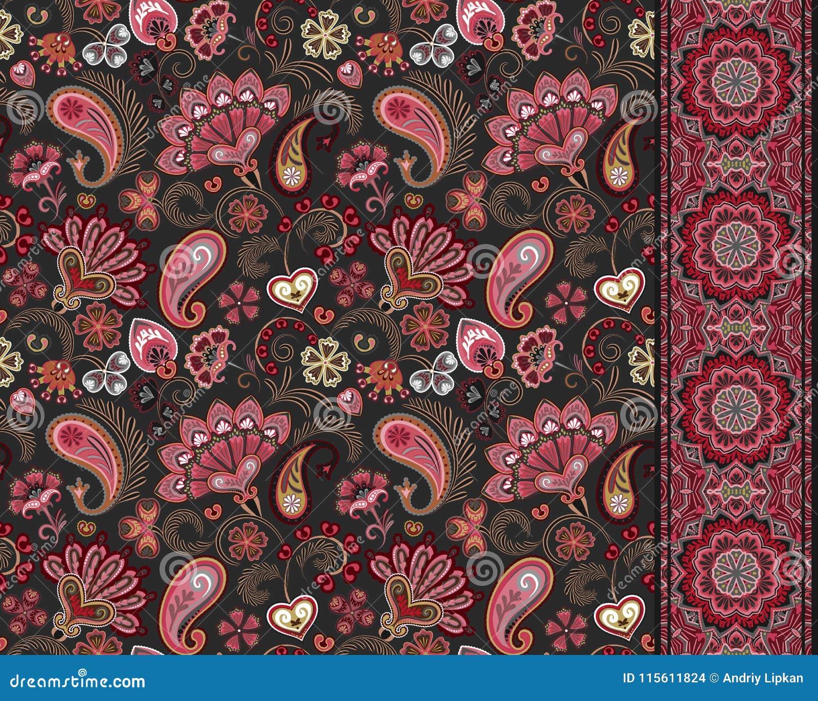 Pepinos turcos Adorno oriental Ornamento y frontera inconsútiles para las telas, papel pintado, fondo Ilustración del vector