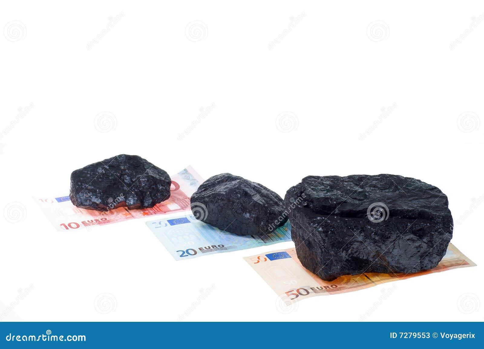 Pepitas y billete de banco del carbón