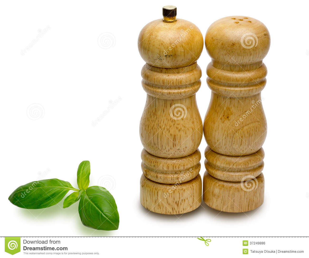 Pepper Pots And Salt Pots With Sweet Basil Royalty Free