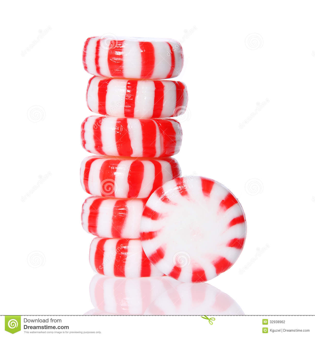 Candy Tower On White Red  Wrapped Peppermint Candy