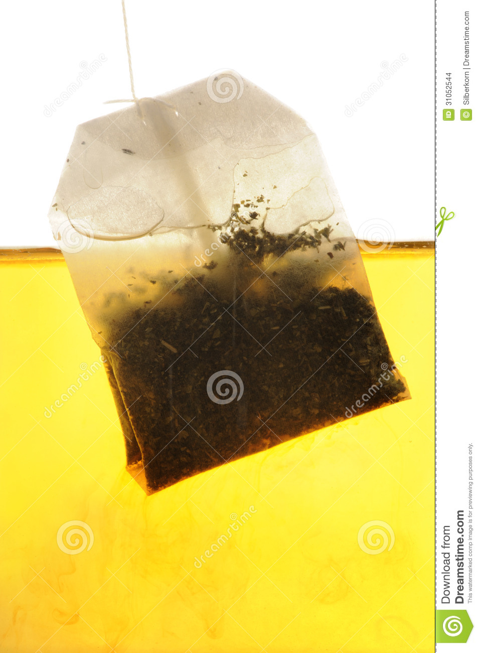 Peppermint Tea Bag Hanging Into Water Stock Images - Image ...